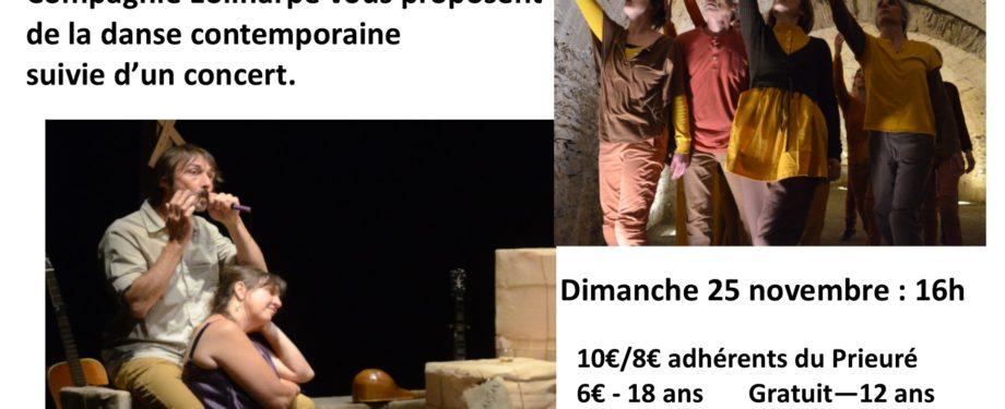 """Danse contemporaine et concert - Association """"on y danse"""" et la Compagnie Eoliharpe"""